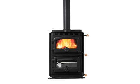 Freestanding Woodburner with stove and oven on white background